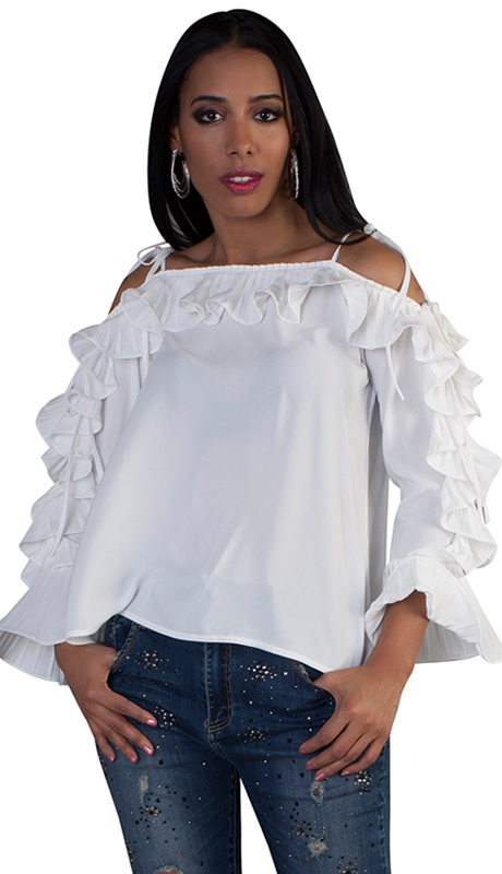 For Her Collection 8696-WH ( 1pc Ruffled Cold Shoulder Top )