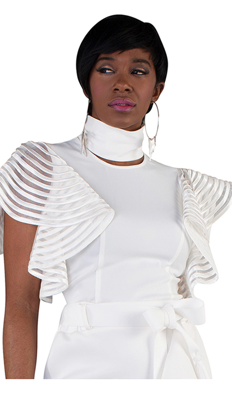 For Her Collection 8694-OW ( 1pc Top With Flutter Sleeves And Key Hole )