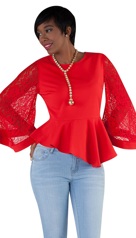For Her Collection 8693-RE ( 1pc Peplum Lace Top )