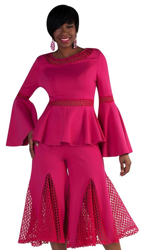 For Her Collection 8691-FU ( 2pc Mesh Split Skirt Set )