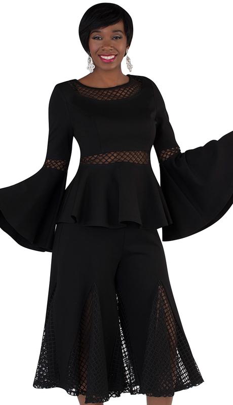 For Her Collection 8691-BK ( 2pc Mesh Split Skirt Set )