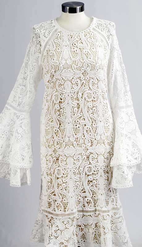 For Her Collection 8696-OW ( 1pc A-Line Crochet With Flared Sleeves Dress )