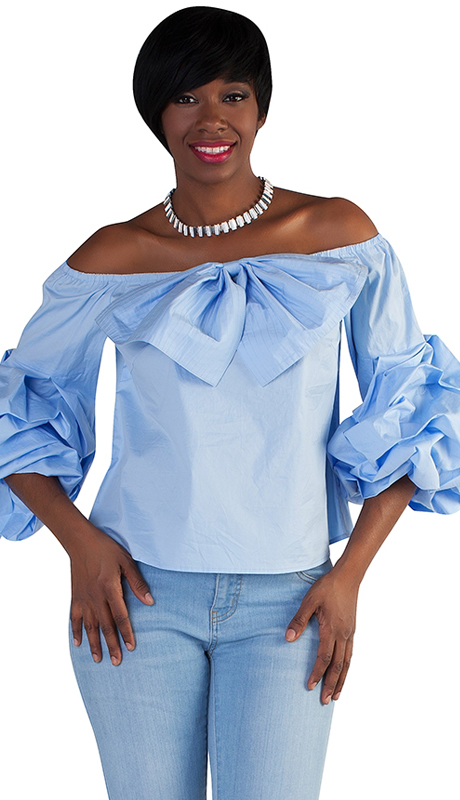 For Her Collection 8680-BB ( 1pc Ruffle Sleeve Top )