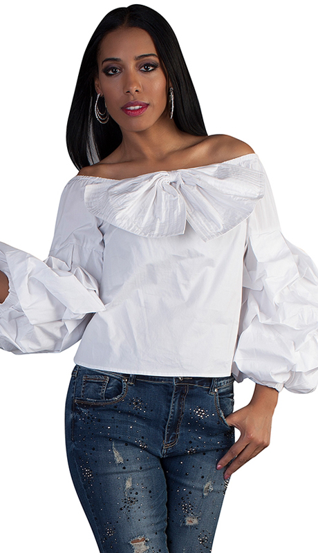 For Her Collection 8680-WH ( 1pc Ruffle Sleeve Top )