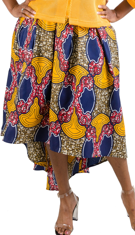 For Her Collection 8641-NM ( 1pc Print High Low Skirt )