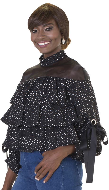 For Her Collection 8628-BW ( 1pc Polka Dot Tier Top )