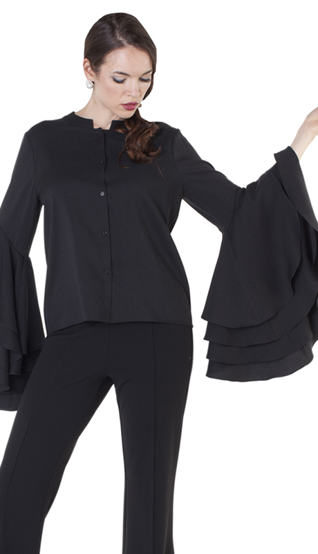 For Her Collection 8627-BK ( 1pc Layered Bell Sleeve Top )