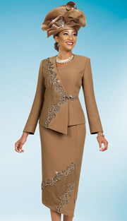 BM47981 ( 2pc PeachSkin With Lace Ben Marc Designer Sunday Suit )