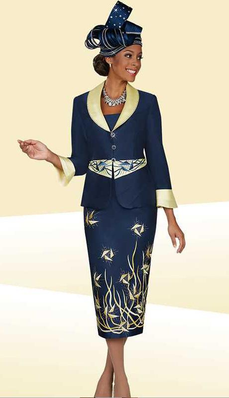 BM47900  ( 2pc PeachSkin Ben Marc Designer Womens Church Suit With Geometric Pattern On Jacket And Skirt )