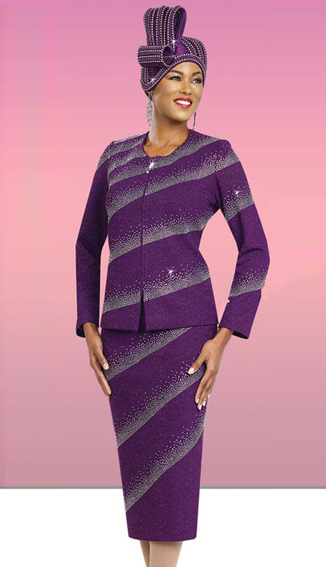 BM47955 ( 2pc Knit Zipper Front Jacket And Skirt With Cascading Rhinestones )