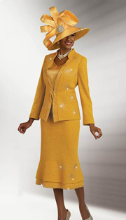 BM47807 ( 3pc Knit Ladies Church Suit By Ben Marc, Jacket, Cami And Skirt With Rhinestone Embellishment )