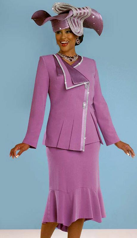 BM47830 ( 3pc Peachskin Ben Marc Designer Church Suit For Women, Asymetric Jacket With Rhinestone Trim, Cami And Skirt )
