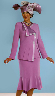 BM47830 ( 3pc Peachskin Ben Marc Designer Church Suit For Women, Asymetric Jacket With Rhinestone Trim, Cami And Skirt )