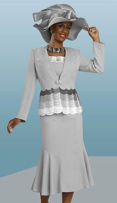 BM47848 ( 3pc Peachskin Ben Marc Designer Womens Church Suit With Scallop Trim Jacket, Cami And Skirt )