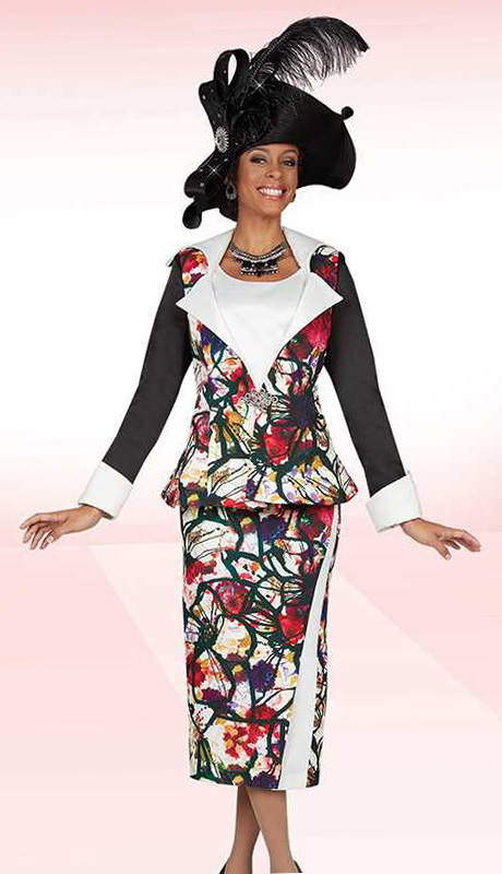 BM47938 ( 3pc Peachskin Ben Marc Designer Womens Church Suit With Painterly Floral Print Jacket, Cami And Skirt )