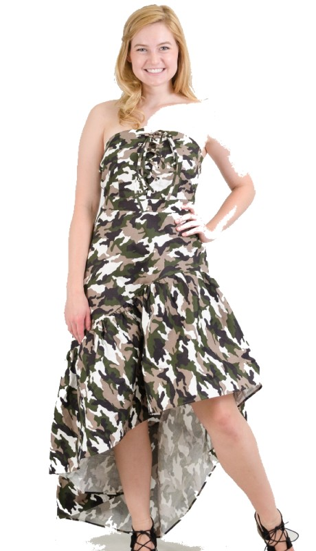 FT Inc D0049 ( 1pc Dress Strapless Camo  )