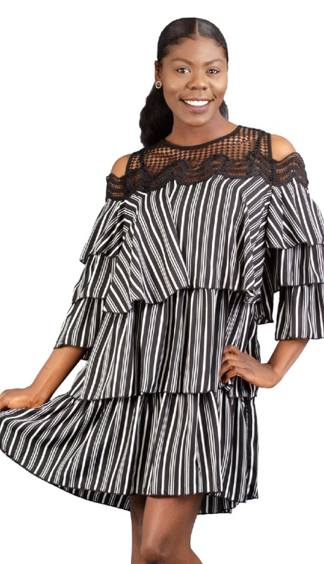 FT Inc D0089 ( 1pc Dress Tier Stripe )
