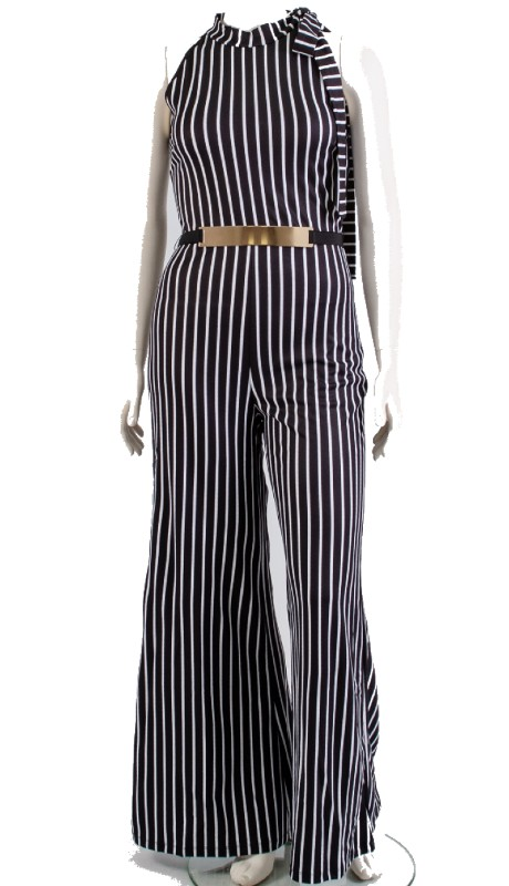 FT Inc J0123 ( 2pc Jumpsuit Stripe )