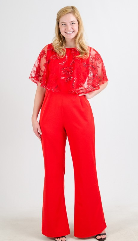 FT Inc CH18050 ( 2pc Jumpsuit Lace Popover )