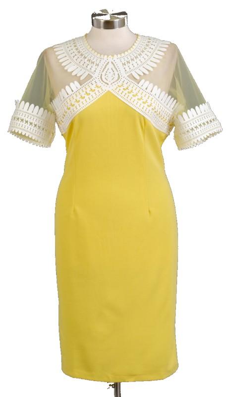 FT Inc CH8211 ( 1pc Sheer Shoulder Dress )