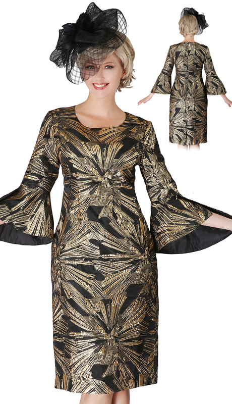 Giovanna D1530-BG ( 1pc Brocade Bell Slit Sleeve Dress )