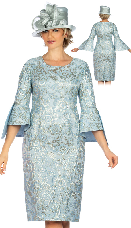 Giovanna D1517-BL ( 1pc  Brocade Bell Slit 3/4 Sleeve Shift Dress )