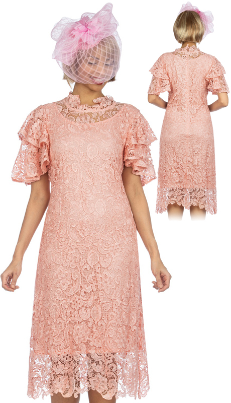 Giovanna D1511-PI ( 1pc Lace Short Tierred Sleeve Dress )