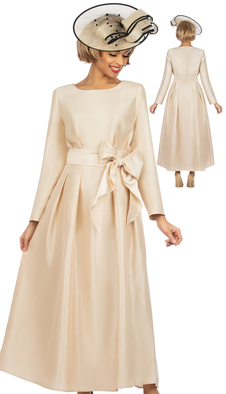 Giovanna D1508-CH-CO ( 1pc Shantung A-Line Womens Church Dress With Matching Sash )