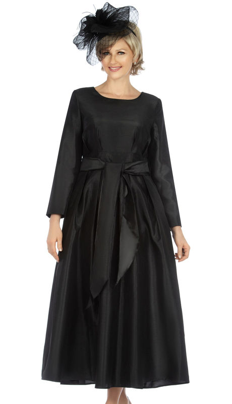 Giovanna D1508-BK ( 1pc Shantung A-Line Womens Church Dress With Matching Sash )