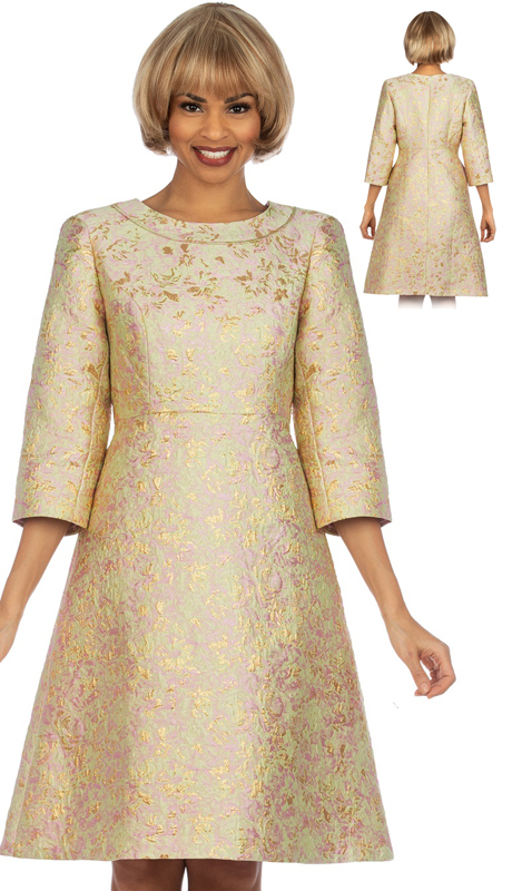 Giovanna D1312-SG ( 1pc Metallic Brocade A-line 3/4 Sleeve Dress )