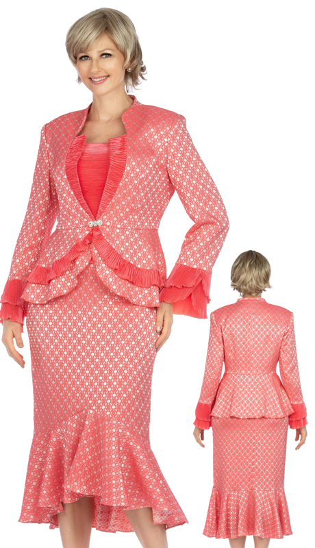 Giovanna G1142-HP ( 2pc Brocade And Crinkle Satin Womens Skirt Suit For Church With Subtle Diamond Design )