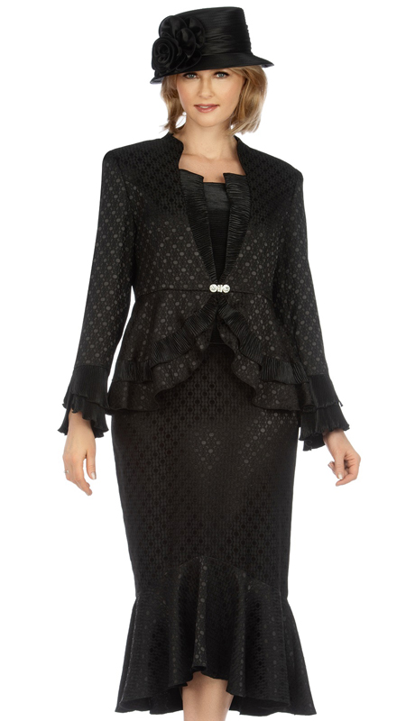 Giovanna G1142-BK ( 2pc Brocade And Crinkle Satin Womens Skirt Suit For Church With Subtle Diamond Design )