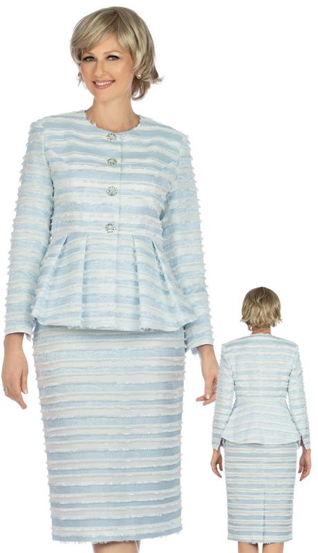 Giovanna G1126-WB ( 2pc Eyelash Striped Womens Peplum Skirt Suit )