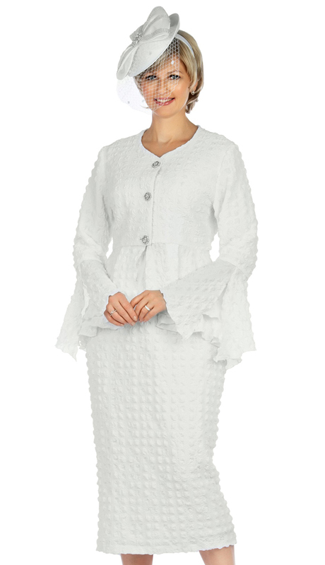 Giovanna 0944-W ( 2pc Popcorn Womens Church Suit With Beautiful Peplum Jacket And Column Skirt )