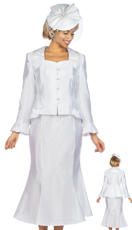 Giovanna 1122 ( 2pc Tafetta Ladies Church Suit With Flare Skirt, And Subtle Pattern )