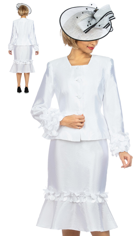 Giovanna 1140 ( 2pc Tafetta Womens Suit For Sunday With Elegant Floating Petal Design On Sleeves And Skirt )-Hat