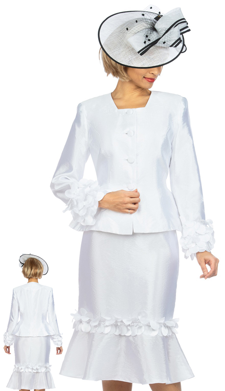 Giovanna 1140 ( 2pc Tafetta Womens Suit For Sunday With Elegant Floating Petal Design On Sleeves And Skirt )