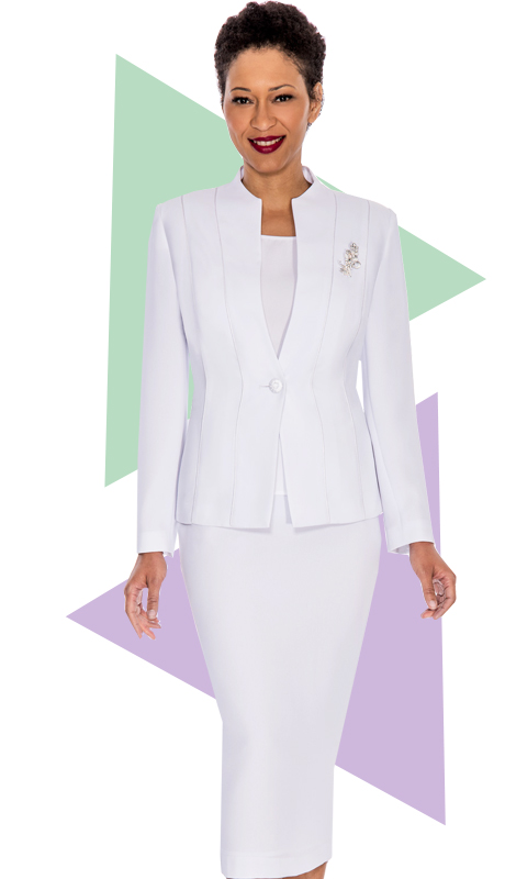 Giovanna 0867-WHT  ( 3pc PeachSkin Ladies Church Suit With Rhinestones Brooch )