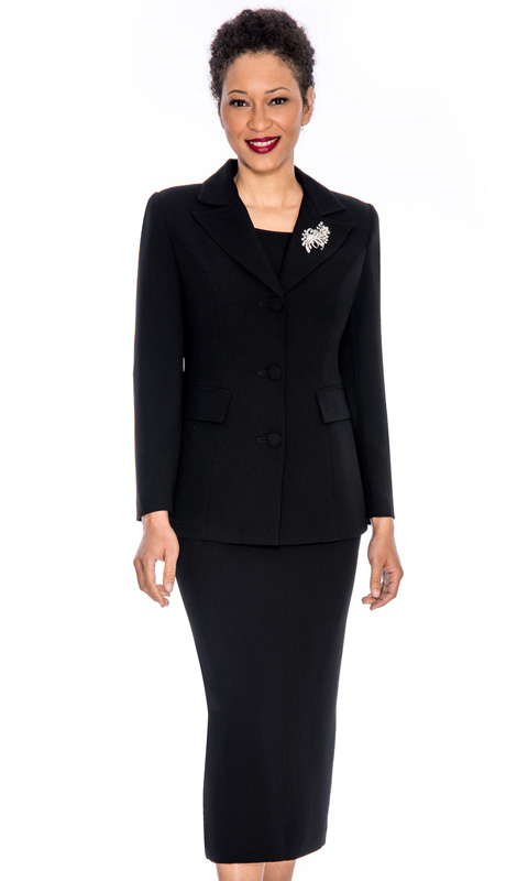 Giovanna 0655-BLK ( 3pc PeachSkin Women Church Suit With Rhinestones Brooch)