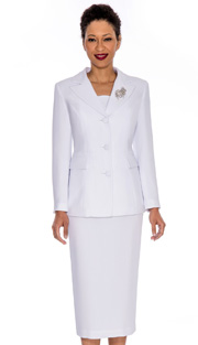 Giovanna  0655-WH ( 3pc PeachSkin Ladies Women Suit With Rhinestone Brooch)