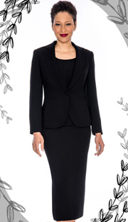 Giovanna 0823-BLK ( 3pc Peachskin Womens Suit With Jacket, Cami And Skirt )