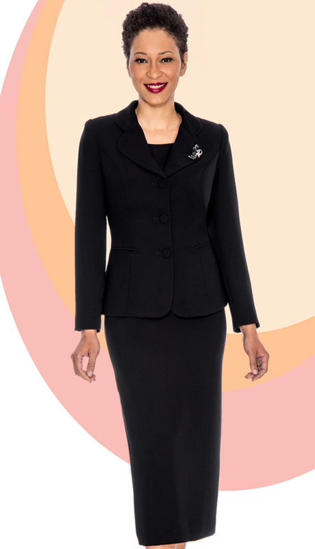 Giovanna 0824-BLK ( 3pc Peachskin Womens Suit With 3 Button Jacket, Cami And Skirt )