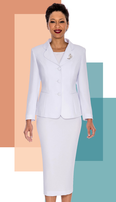 Giovanna 0824-WH ( 3pc Peachskin Womens Suit With 3 Button Jacket, Cami And Skirt )