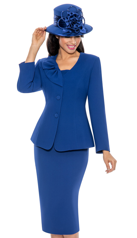 Giovanna 0654-RO ( 3pc PeachSkin Womens Suit With Bow Collar, Jacket, Cami And Skirt )