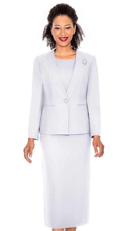 0825-WH ( 3pc Peachskin Womens Suit With Jacket, Cami And Skirt )