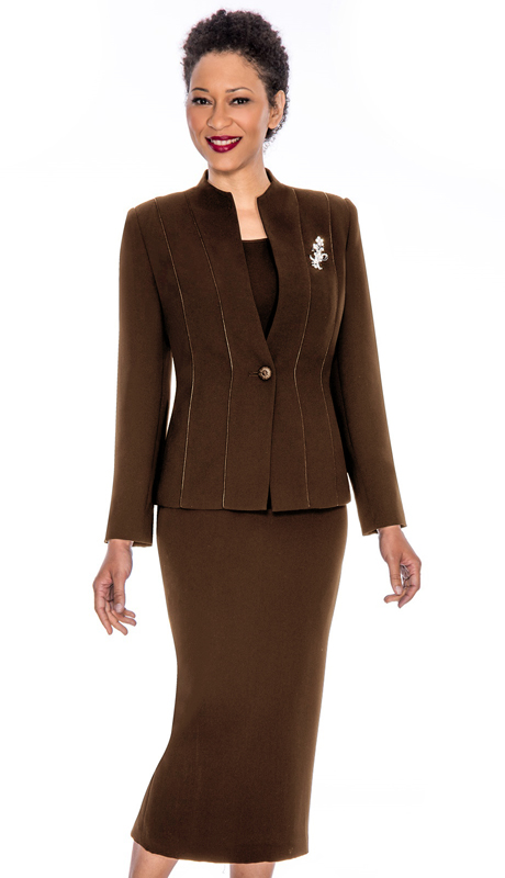 Giovanna 0867-CH ( 3pc PeachSkin Women Suit With Rhinestones Brooch )