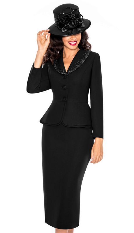 Giovanna 0709-BLK ( 3pc Womens Church Suit With Decorative Accent Collar )