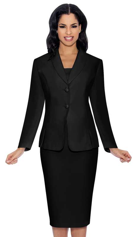 Giovanna 0826-BLK ( 3pc PeachSkin Womens Sunday Suit With Side Pleats )