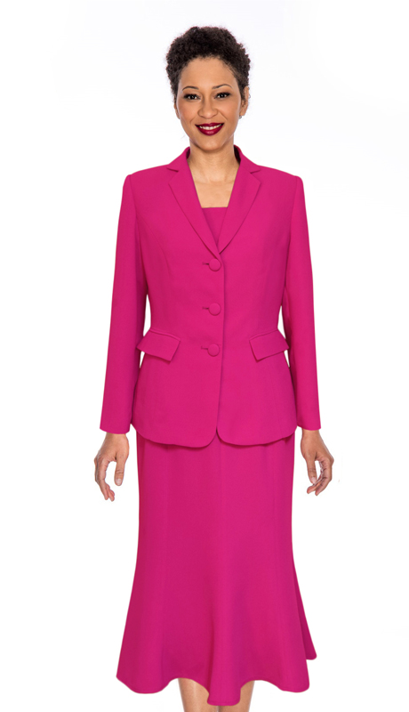 Giovanna 0818-F ( 3pc PeachSkin Womens Sunday Suit With Side Pleats )