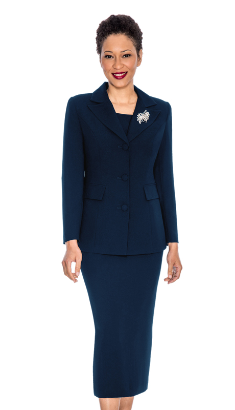 Giovanna  0655-NA ( 3pc PeachSkin Ladies Women Suit With Rhinestone Brooch)